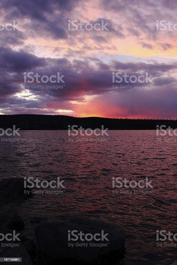 Sunset Over Wyoming Lake stock photo