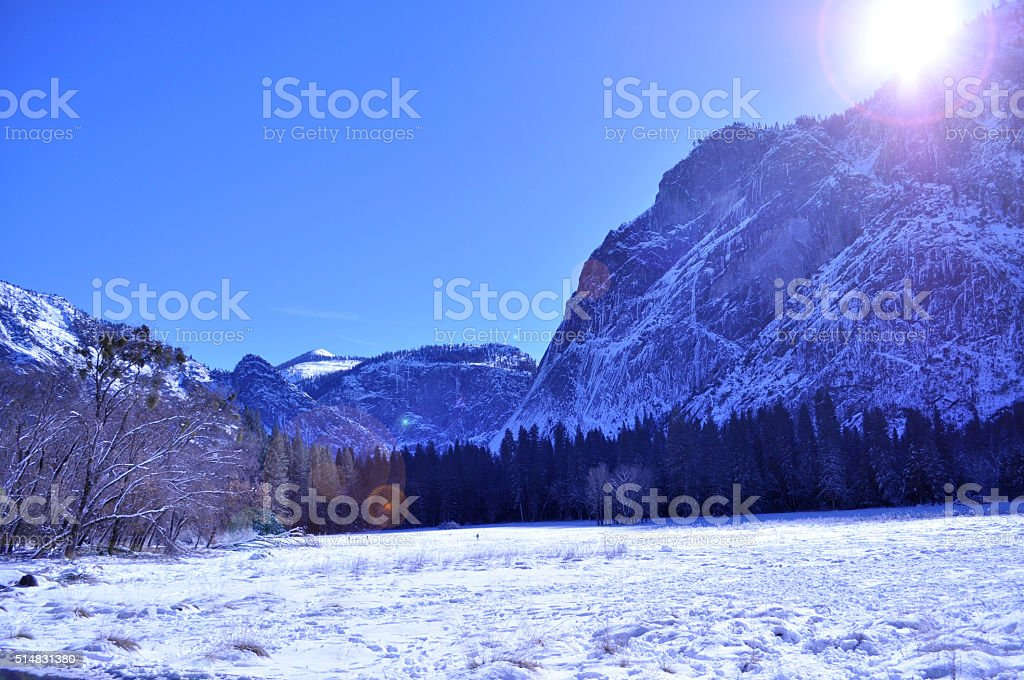 Sunset over Yosemite National Park in Winter stock photo