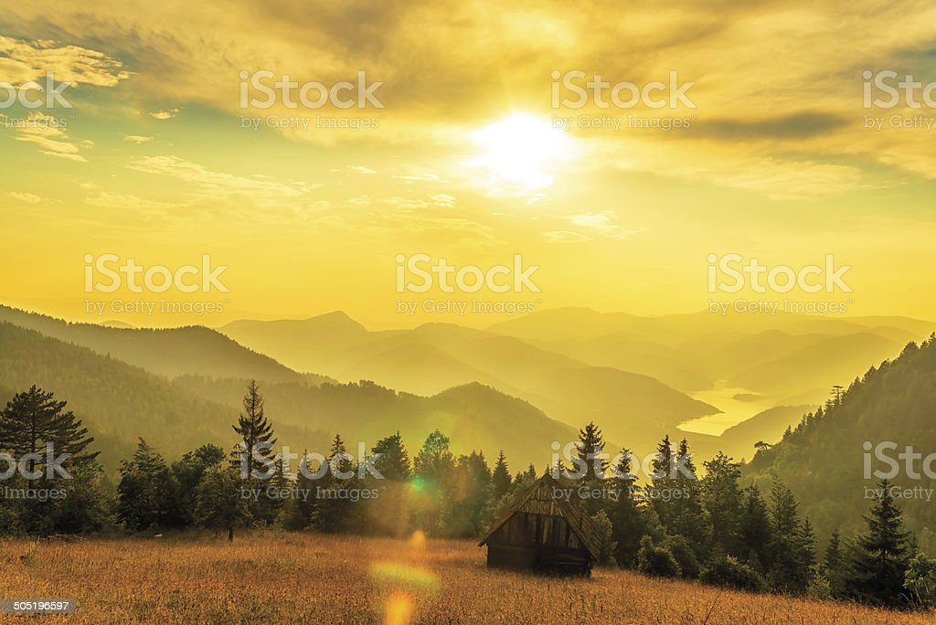 Sunset over Zaovine Lake, West Serbia royalty-free stock photo