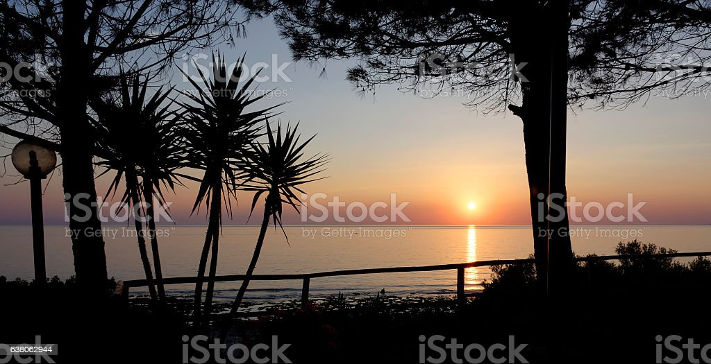 sunset palinuro picture stock photo