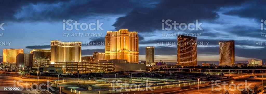 Sunset panorama above casinos on the Las Vegas Strip stock photo
