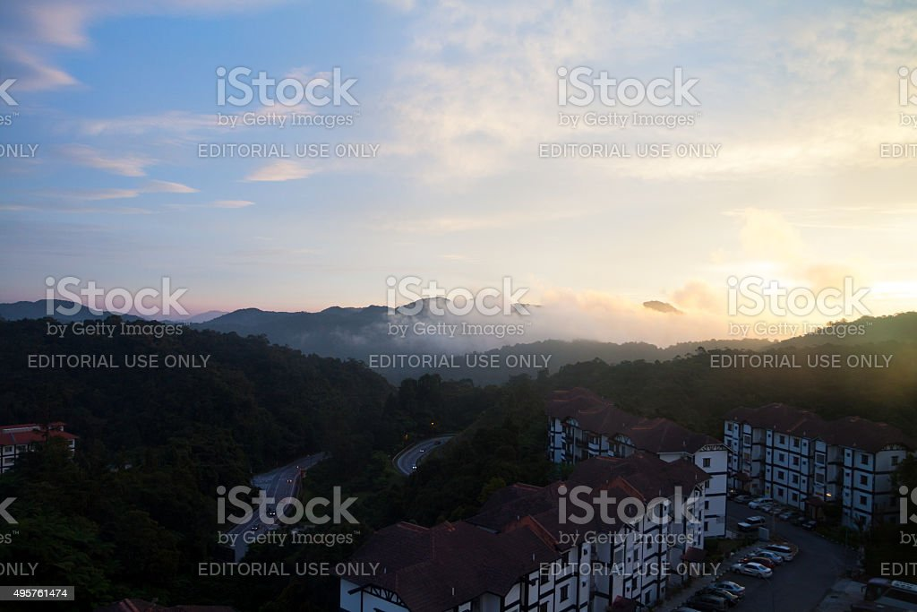 Sunset panorama at Tanah Rata stock photo