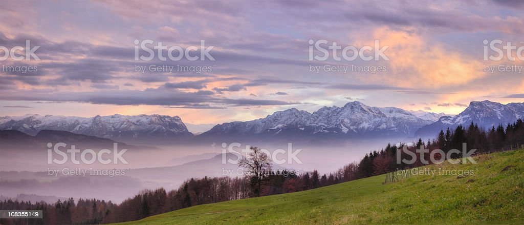 Sunset Panorama in the Alps stock photo