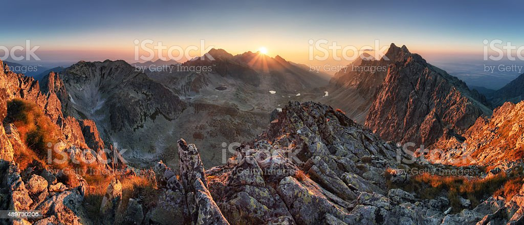 Sunset panorama mountain nature autumn landscape, Slovakia stock photo