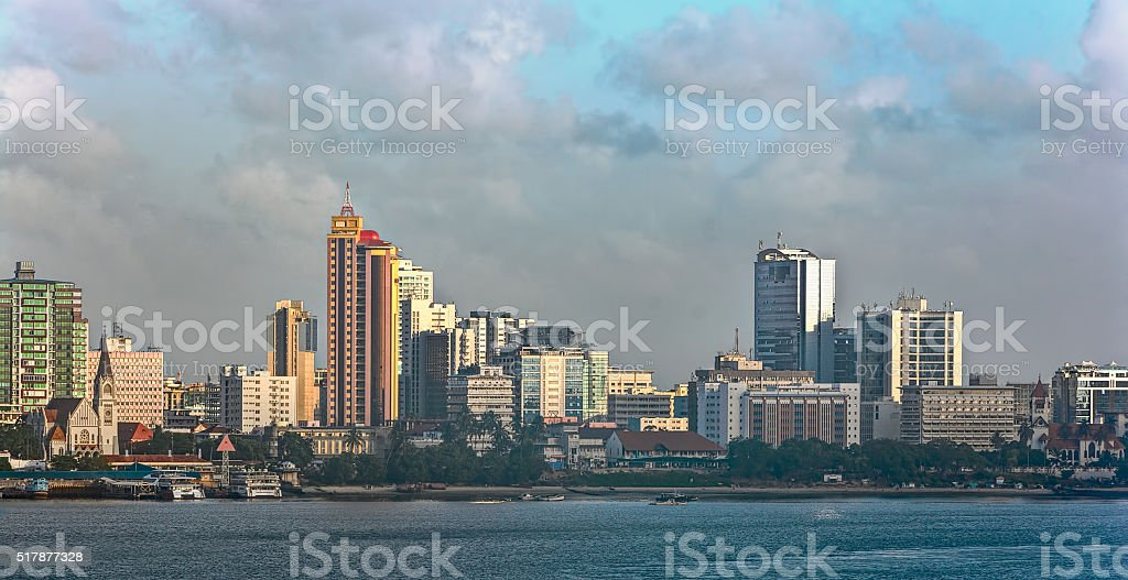 Sunset panorama of Dar Es Salaam City Centre stock photo