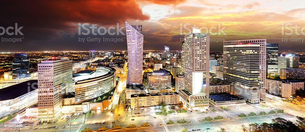 Sunset panorama of Warsaw, capital of Poland, Europe stock photo