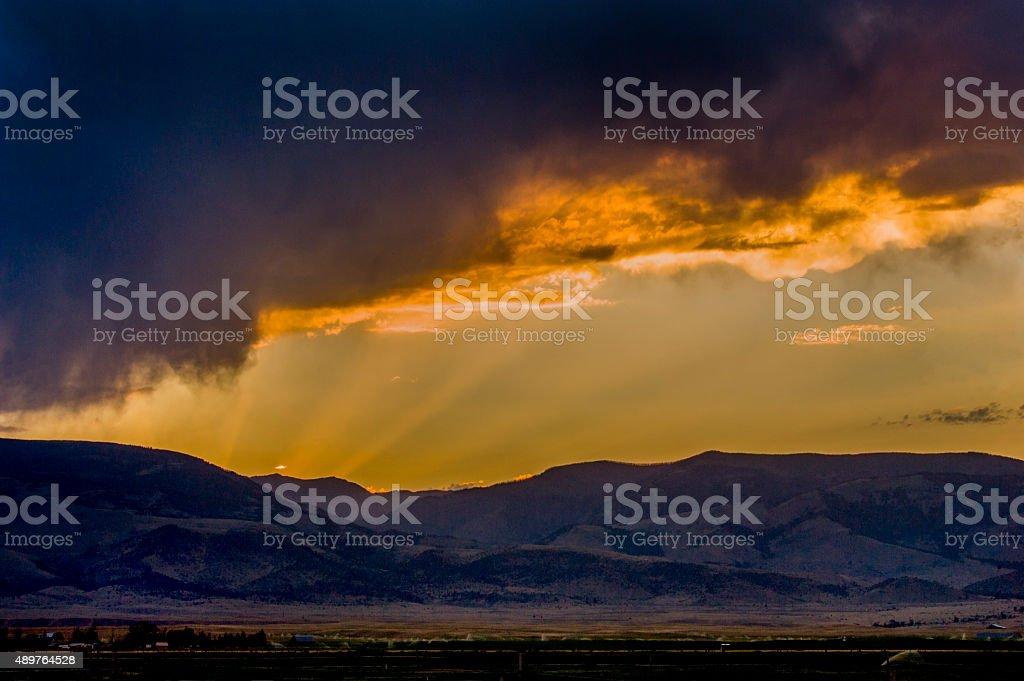 Sunset, Paradise Valley, Montana stock photo