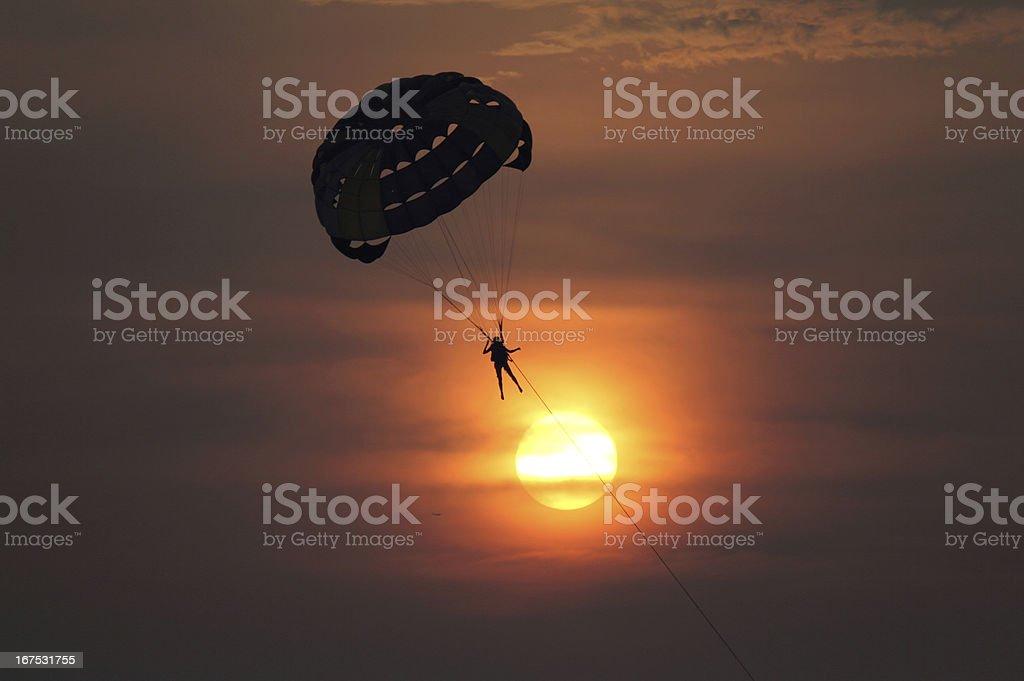 Sunset Parasailing stock photo