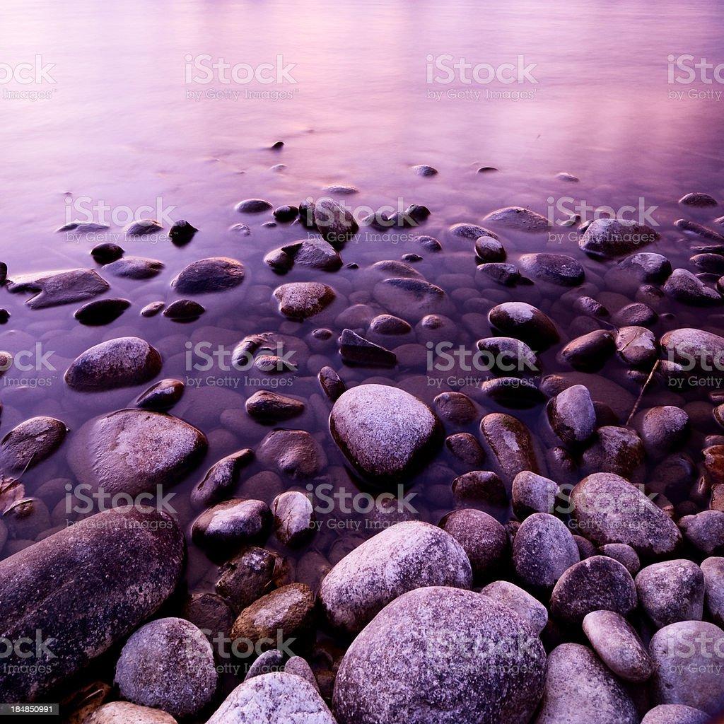 Sunset pebbles royalty-free stock photo