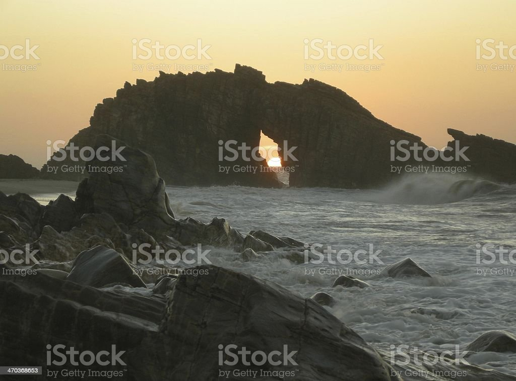 Por do Sol Pedra Furada Jericoacoara stock photo