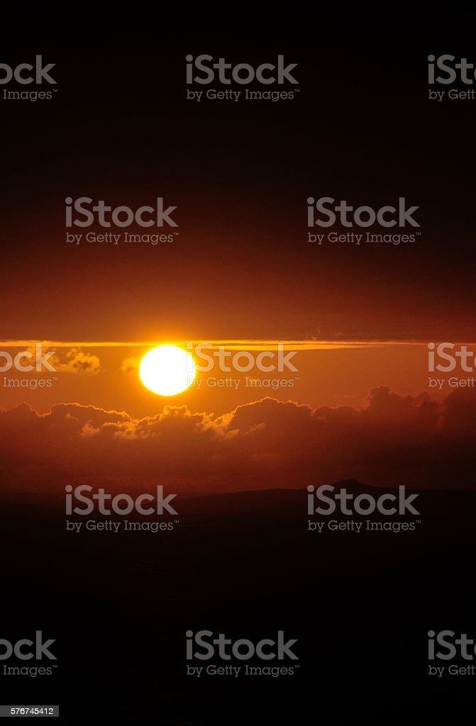 sunset peek stock photo