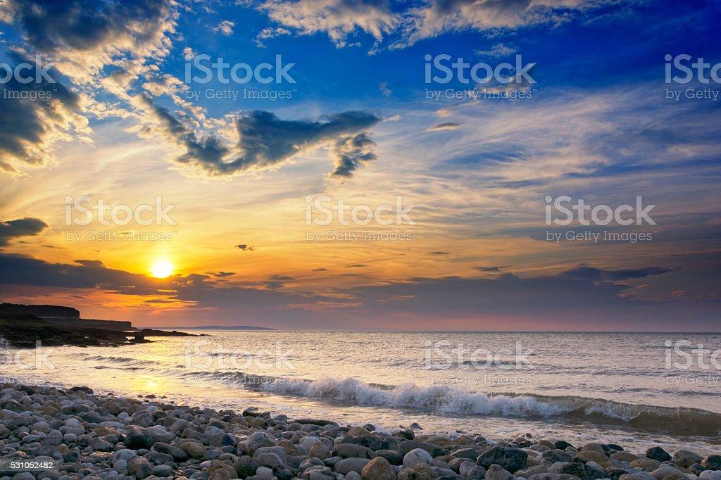 Sunset Penmon Angelsey Wales UK stock photo