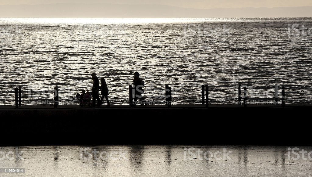 Sunset People Silhouetted royalty-free stock photo