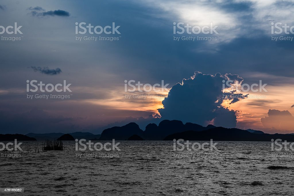 Sunset Phang Nga Nationalpark royalty-free stock photo