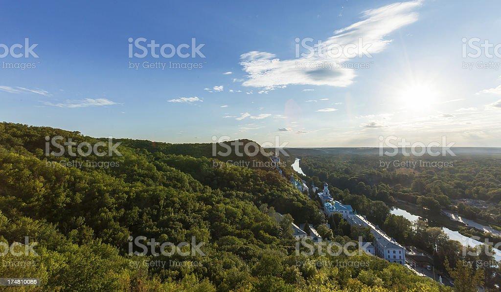 Sunset photo of Svyatogorsk Friary stock photo