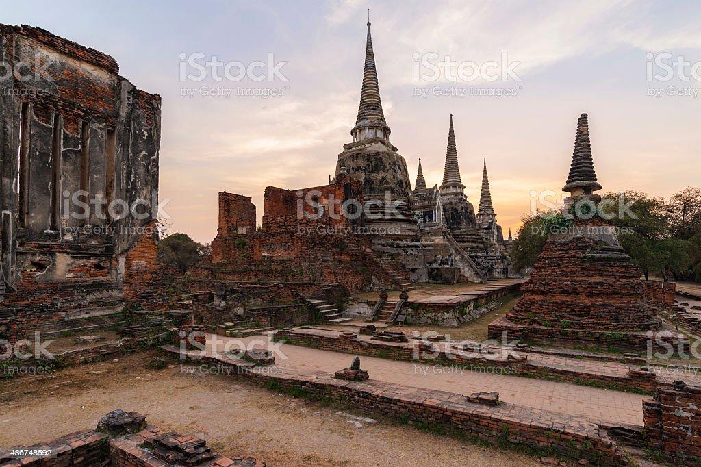 Sunset Phrasisanpeth temple in Ayutthaya historical park Thailand stock photo