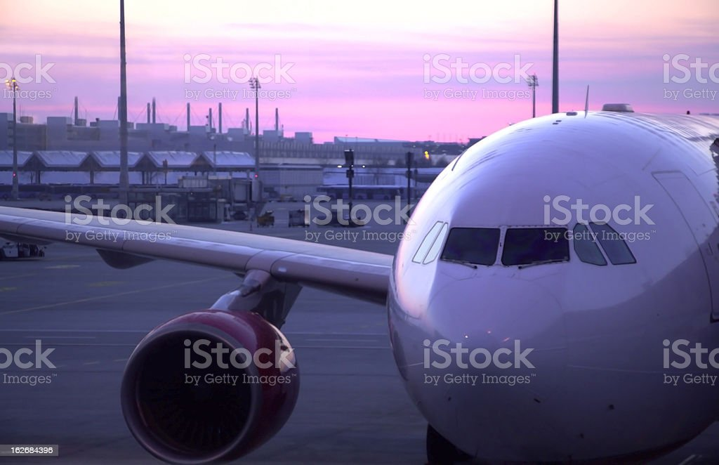 Sunset Plane royalty-free stock photo