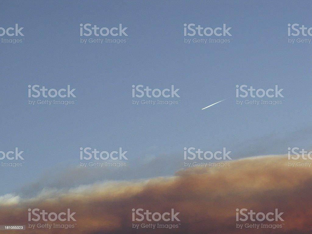 Sunset Plane Trail Arizona royalty-free stock photo