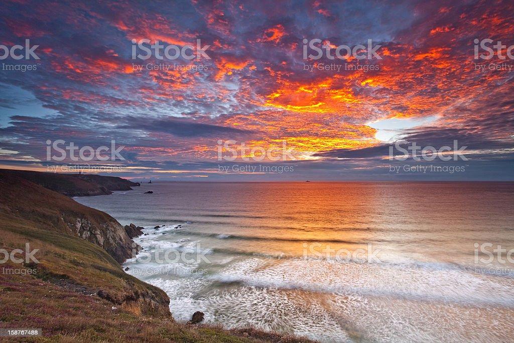 sunset pointe du raz,France royalty-free stock photo
