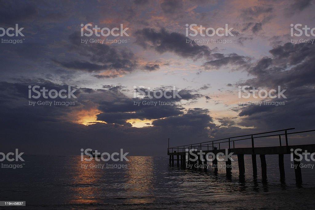 sunset pontoon royalty-free stock photo