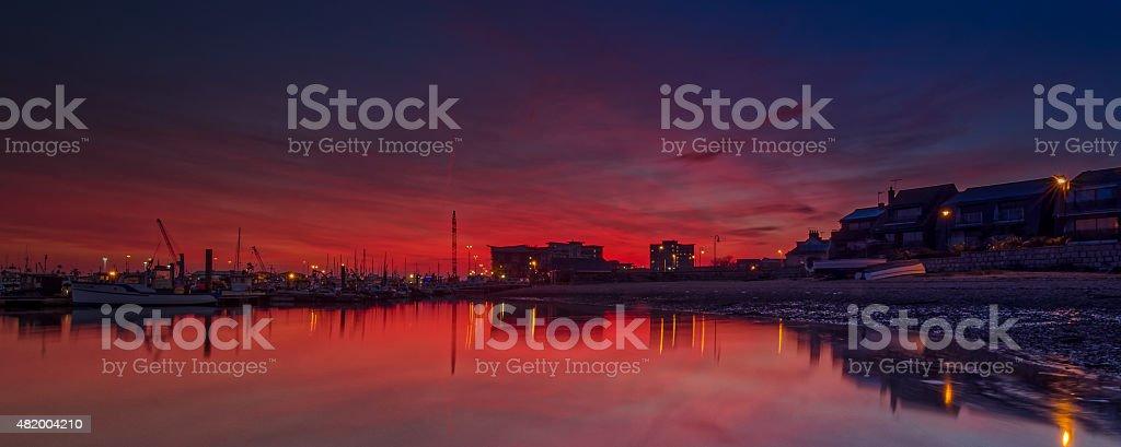Sunset Poole Quay stock photo