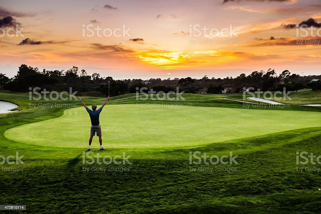 Sunset Putter Celebration stock photo