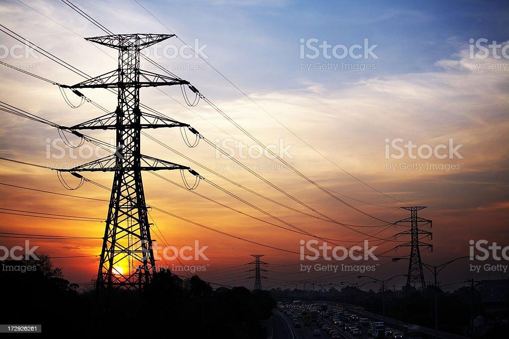 Sunset pylons royalty-free stock photo