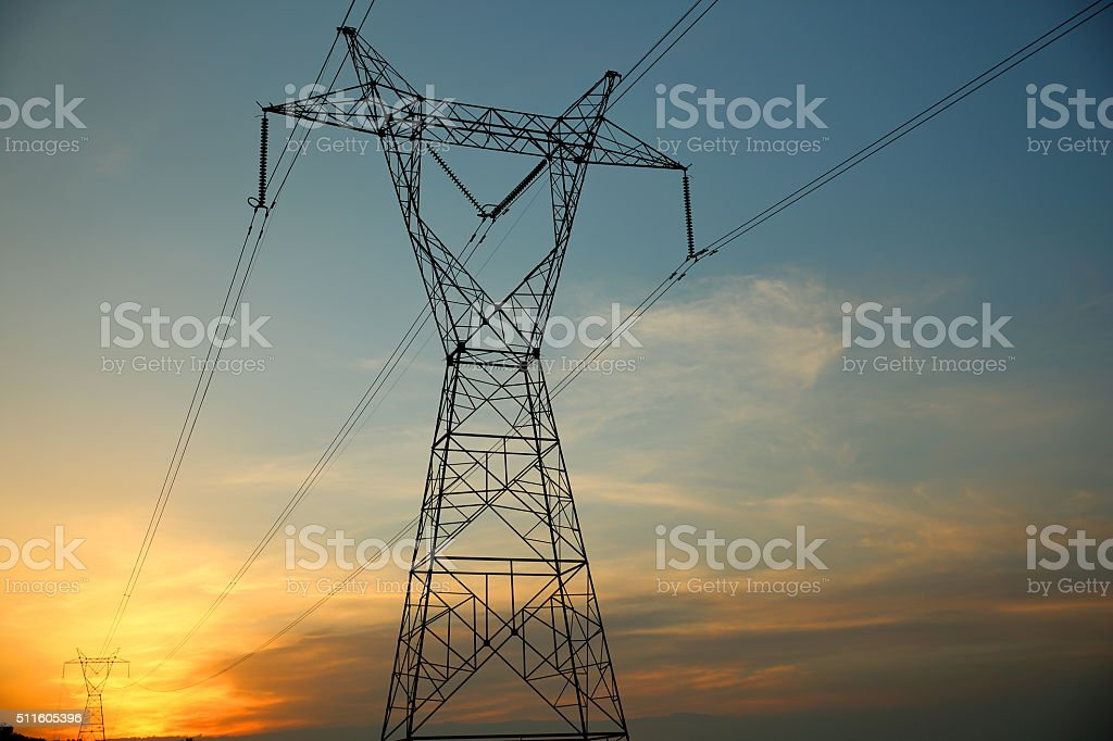 Sunset pylons stock photo
