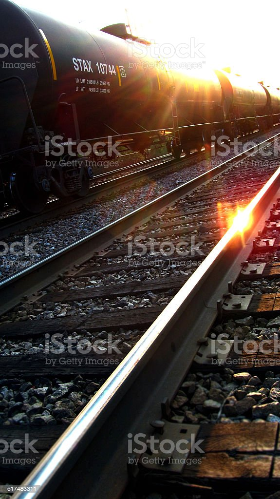Sunset Railroad stock photo