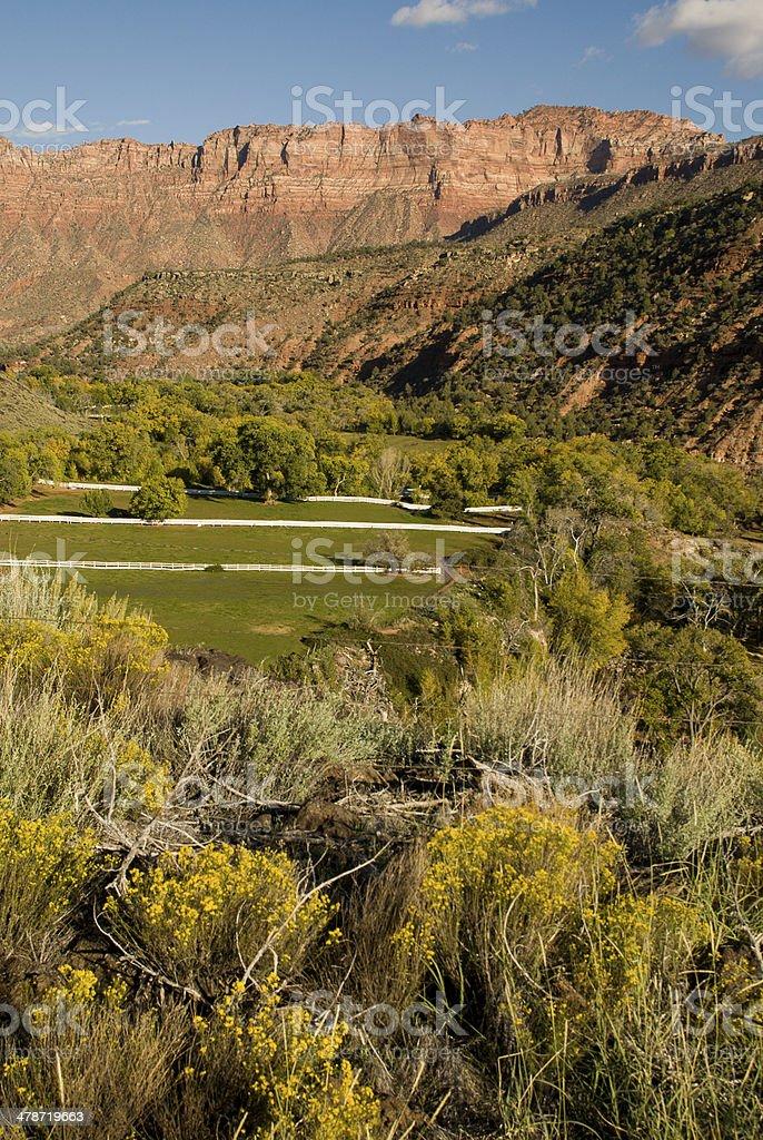 Sunset Ranch and Kolob Terrace Zion National Park Utah stock photo