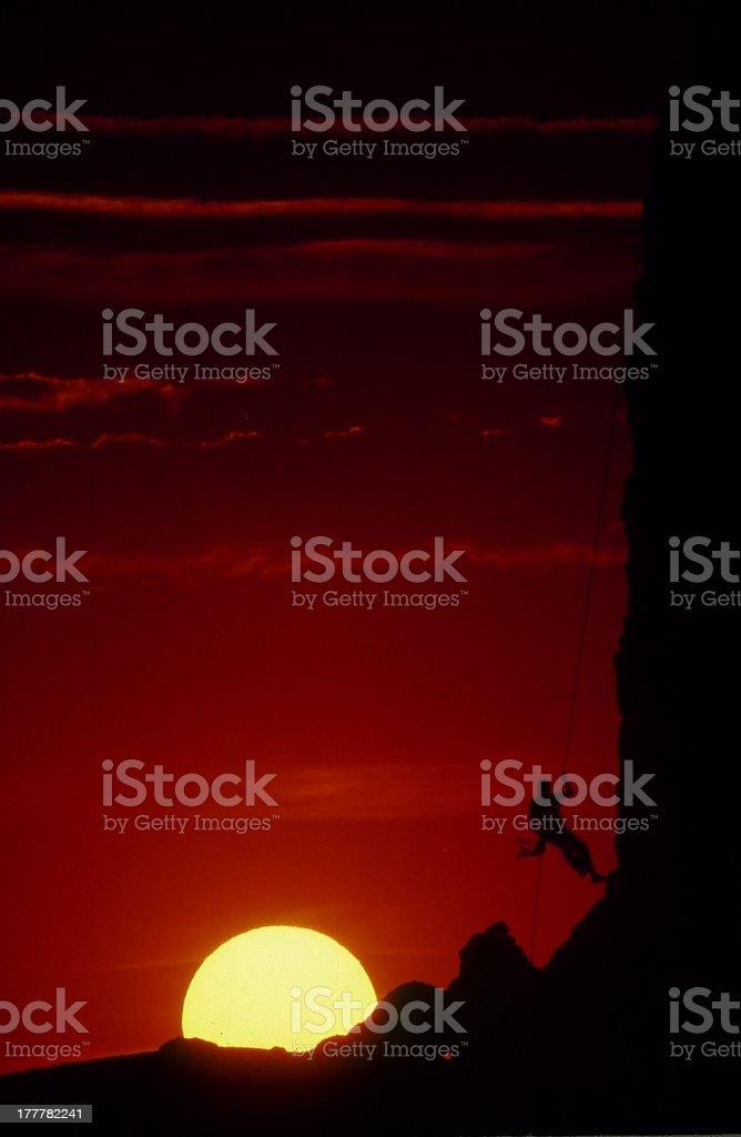 Sunset Rappel stock photo