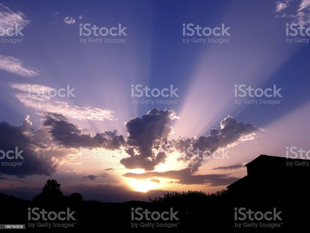 Sunset rays royalty-free stock photo