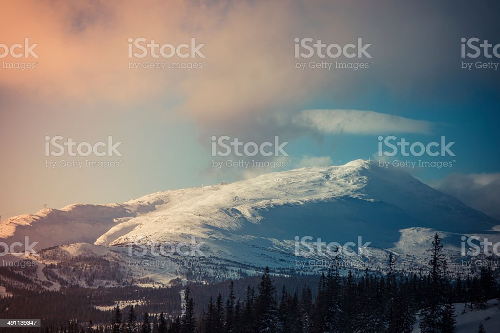 Sunset ?re Mountain Sweden Mountain Landscape royalty-free stock photo