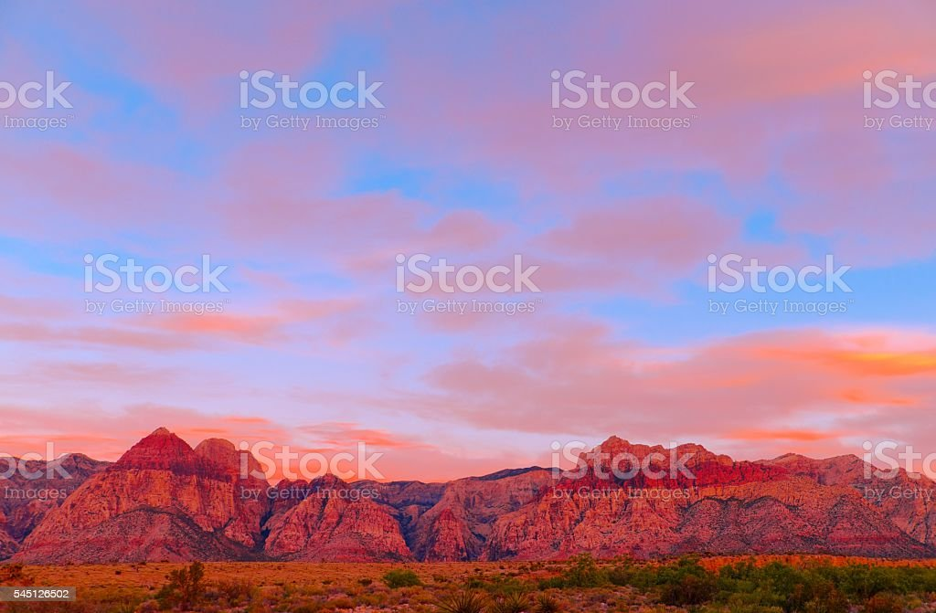 Sunset Red Rock Canyon in Las Vegas, USA stock photo