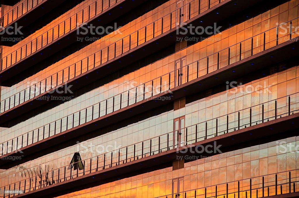 Sunset reflected stock photo