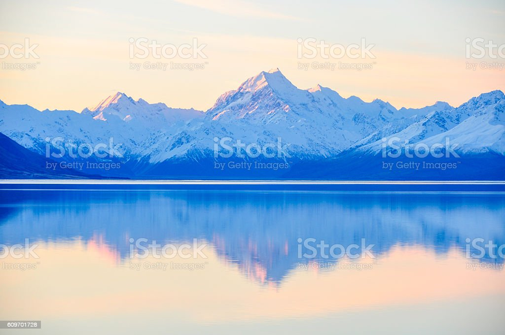 Sunset reflection at Mount Cook in New Zealand stock photo