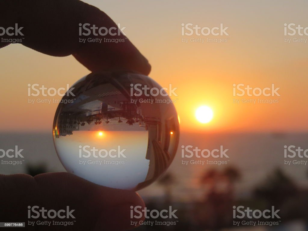Sunset reflection from hotel room in Cyprus stock photo