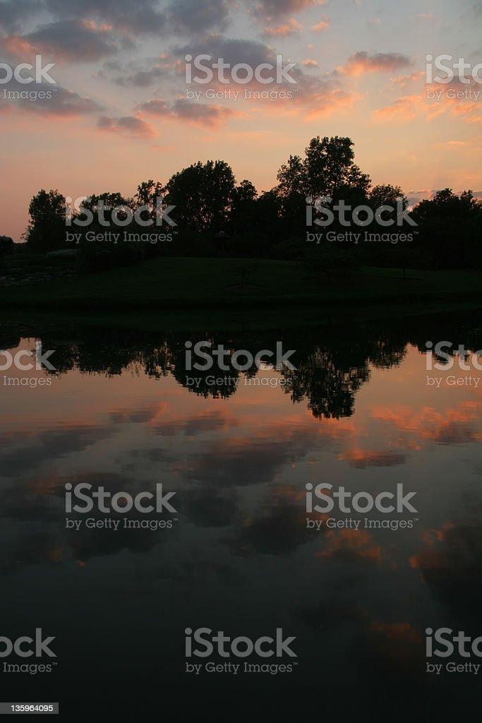 Sunset Reflections On Water, Dayton, Ohio royalty-free stock photo