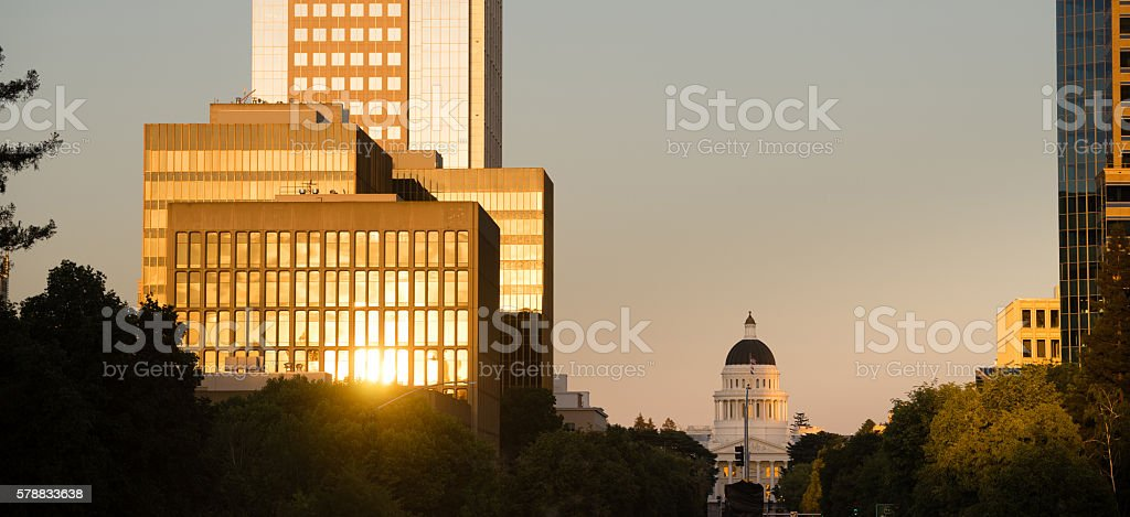 Sunset Reflects Off Buildings Downtown Sacramento California Capital stock photo