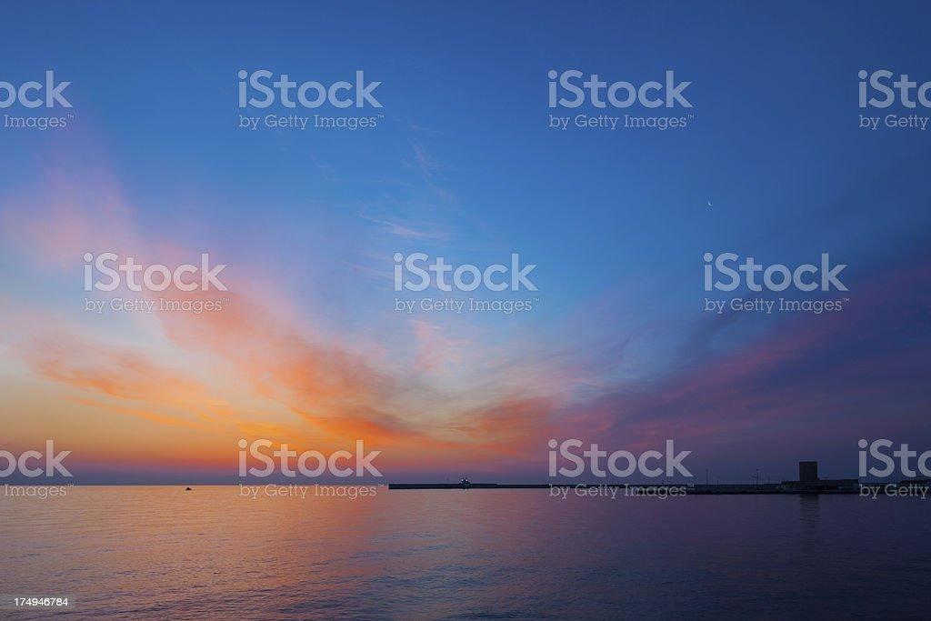 Sunset, Rhodes, Greece royalty-free stock photo