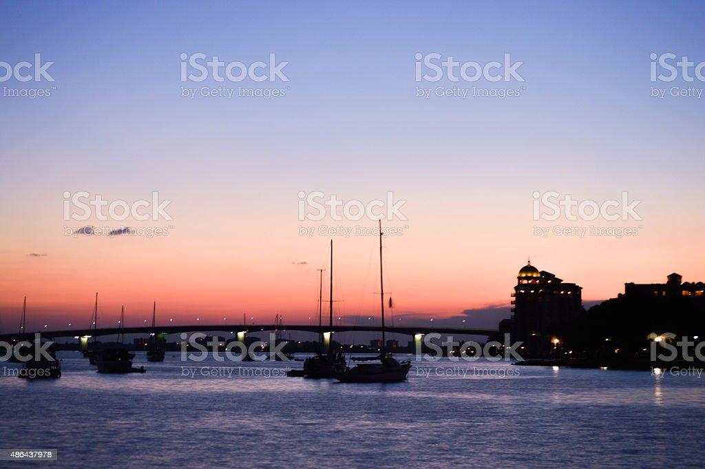 Sunset Ringling Bridge Sarasota Florida stock photo
