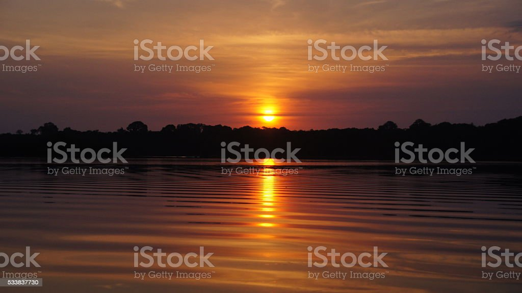 Sunset  River at rain forest in Amazonas, Brazil stock photo