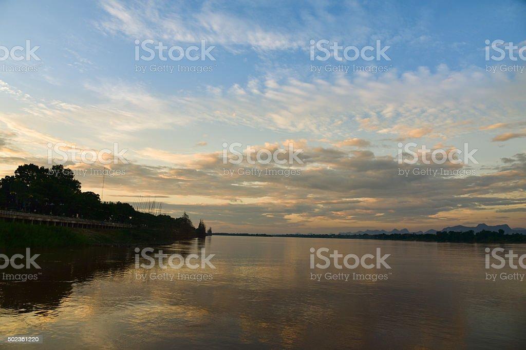 Sunset river stock photo