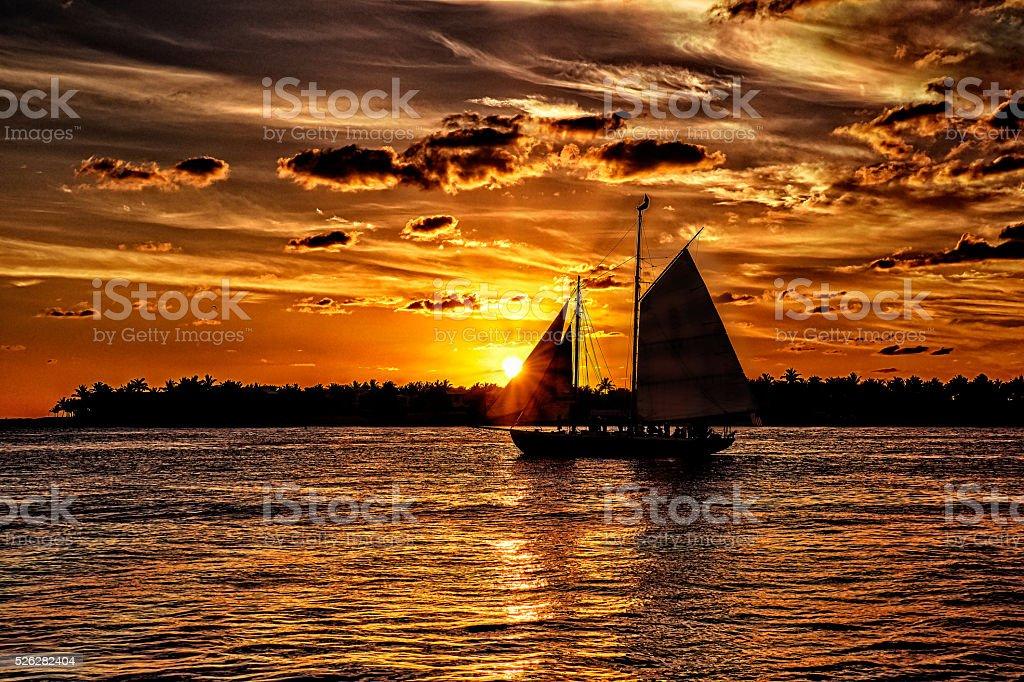 Sunset Sail at Key West, Florida stock photo