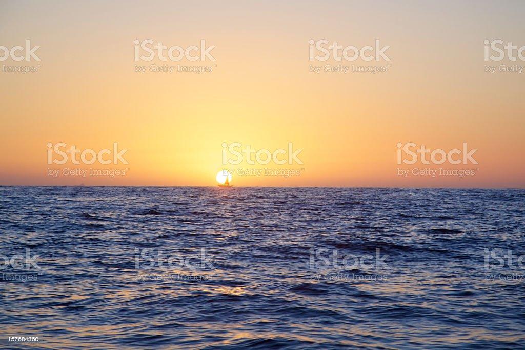 Sunset Sail Yacht royalty-free stock photo