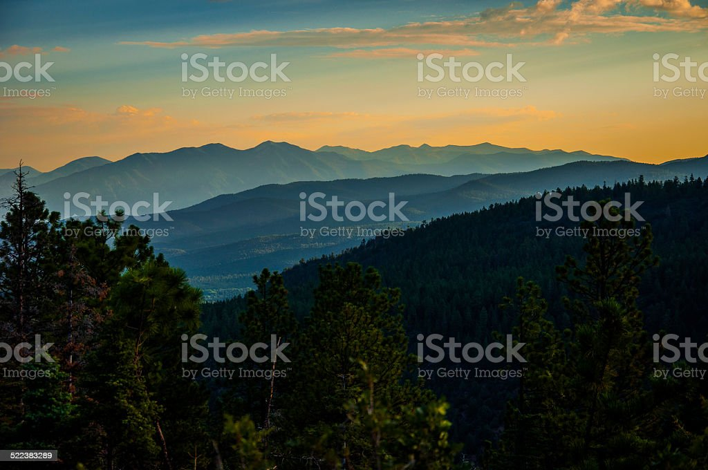 Sunset Sangre De Cristo Mountains in Northern New Mexico stock photo