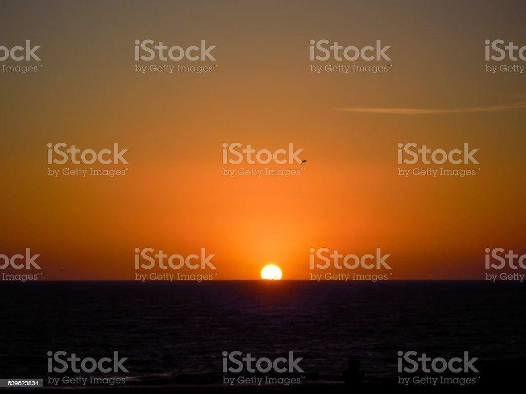 Sunset, Santa Monica, LA, beach - Stock Image stock photo