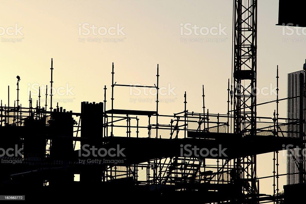 sunset scaffold royalty-free stock photo