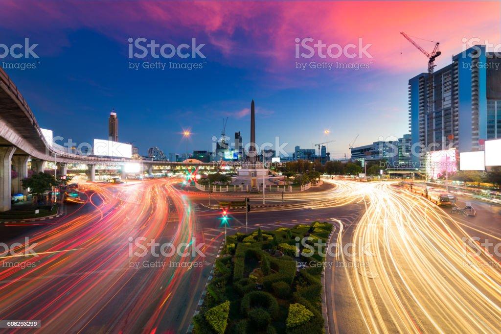 Sunset scence of Bangkok Panorama ,Thailand victory monument stock photo