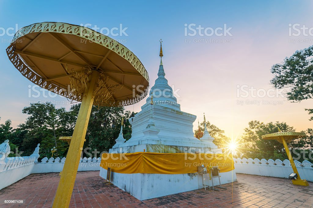 Sunset scence of White pagoda stock photo